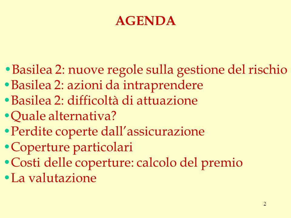 2 Basilea 2: nuove regole sulla gestione del rischio Basilea 2: azioni da intraprendere Basilea 2: difficoltà di attuazione Quale alternativa.
