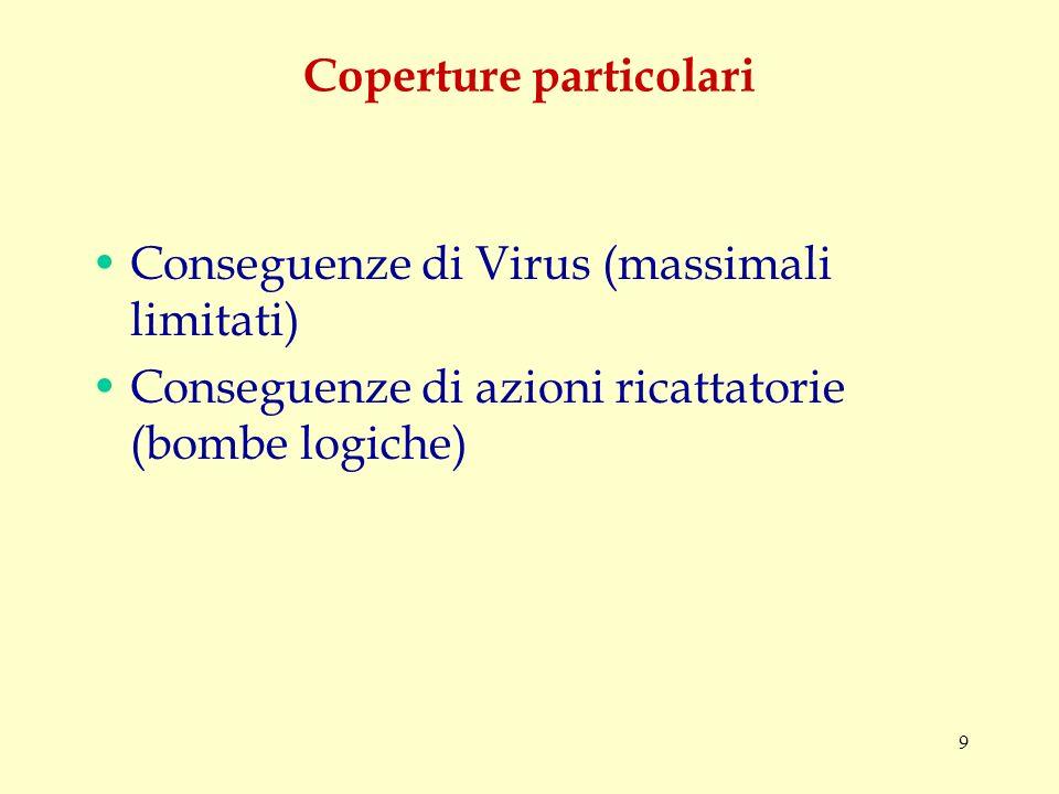 9 Coperture particolari Conseguenze di Virus (massimali limitati) Conseguenze di azioni ricattatorie (bombe logiche)