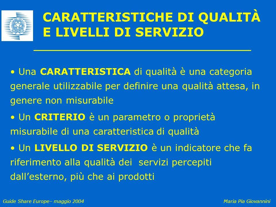 Guide Share Europe– maggio 2004Maria Pia Giovannini Una CARATTERISTICA di qualità è una categoria generale utilizzabile per definire una qualità attes