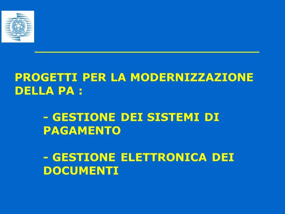 PROGETTI PER LA MODERNIZZAZIONE DELLA PA : - GESTIONE DEI SISTEMI DI PAGAMENTO - GESTIONE ELETTRONICA DEI DOCUMENTI