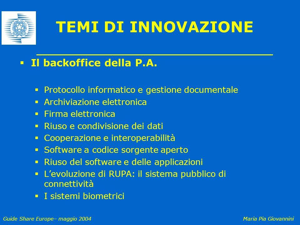 Guide Share Europe– maggio 2004Maria Pia Giovannini TEMI DI INNOVAZIONE Il backoffice della P.A. Protocollo informatico e gestione documentale Archivi