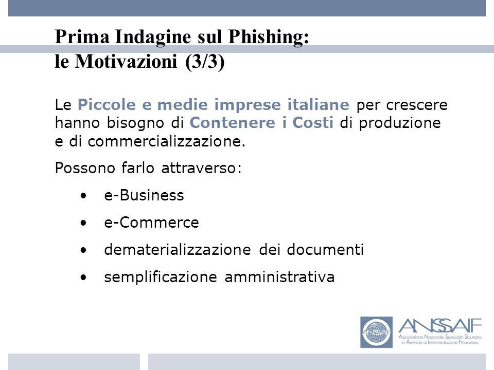 Prima Indagine sul Phishing: le Motivazioni (3/3) Le Piccole e medie imprese italiane per crescere hanno bisogno di Contenere i Costi di produzione e di commercializzazione.
