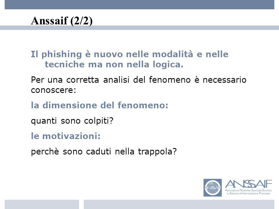 Anssaif (2/2) Il phishing è nuovo nelle modalità e nelle tecniche ma non nella logica.