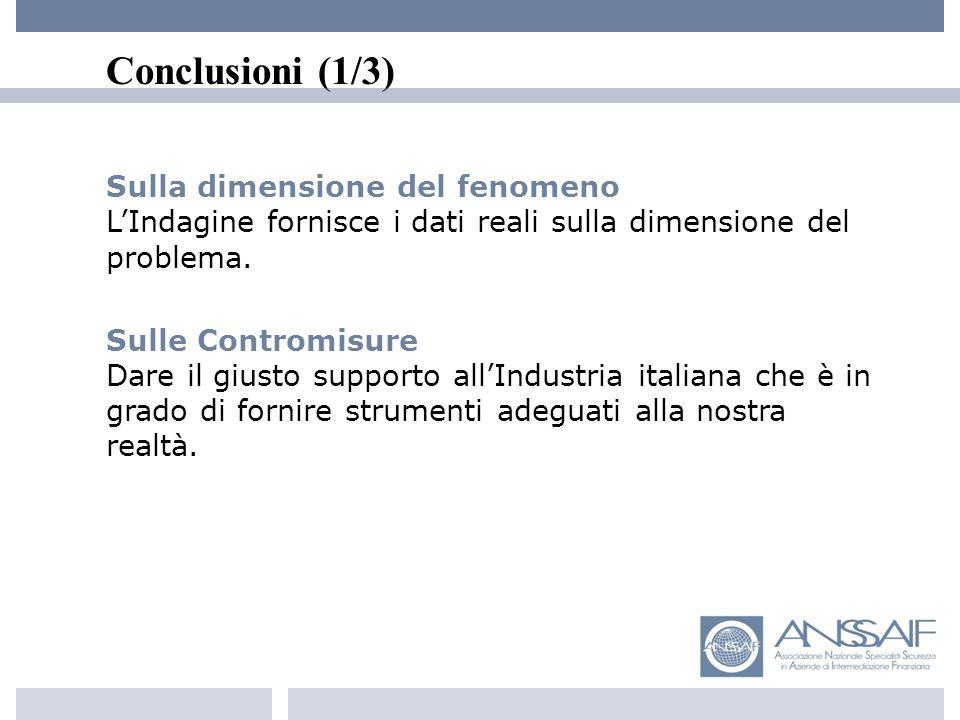 Conclusioni (1/3) Sulla dimensione del fenomeno LIndagine fornisce i dati reali sulla dimensione del problema.