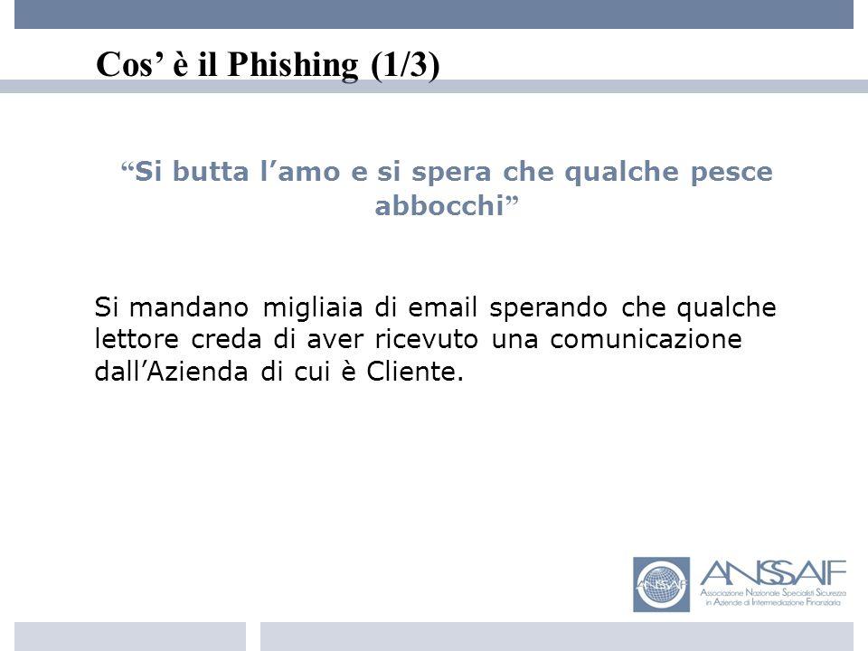 Cos è il Phishing (2/3) Il Phishing non è il Pharming Il Phishing sfrutta lingenuità di qualcuno Il Pharming usa tecniche evolute o buchi di...sicurezza Es.