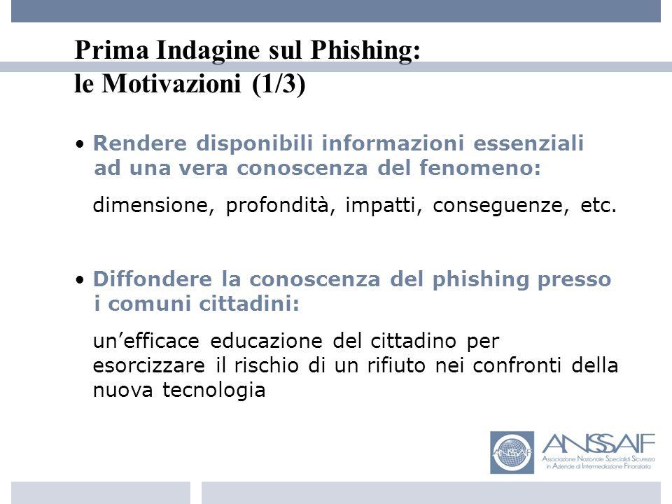 Prima Indagine sul Phishing: le Motivazioni (1/3) Rendere disponibili informazioni essenziali -- --ad una vera conoscenza del fenomeno: --dimensione, profondità, impatti, conseguenze, etc.