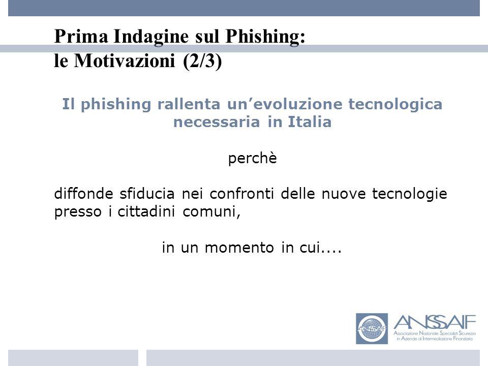 Prima Indagine sul Phishing: le Motivazioni (2/3) Il phishing rallenta unevoluzione tecnologica necessaria in Italia perchè diffonde sfiducia nei confronti delle nuove tecnologie presso i cittadini comuni, in un momento in cui....