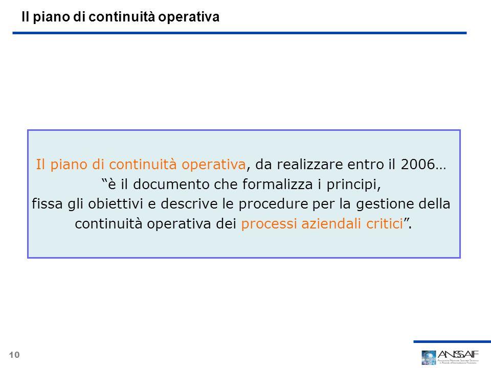 10 Il piano di continuità operativa Il piano di continuità operativa, da realizzare entro il 2006… è il documento che formalizza i principi, fissa gli