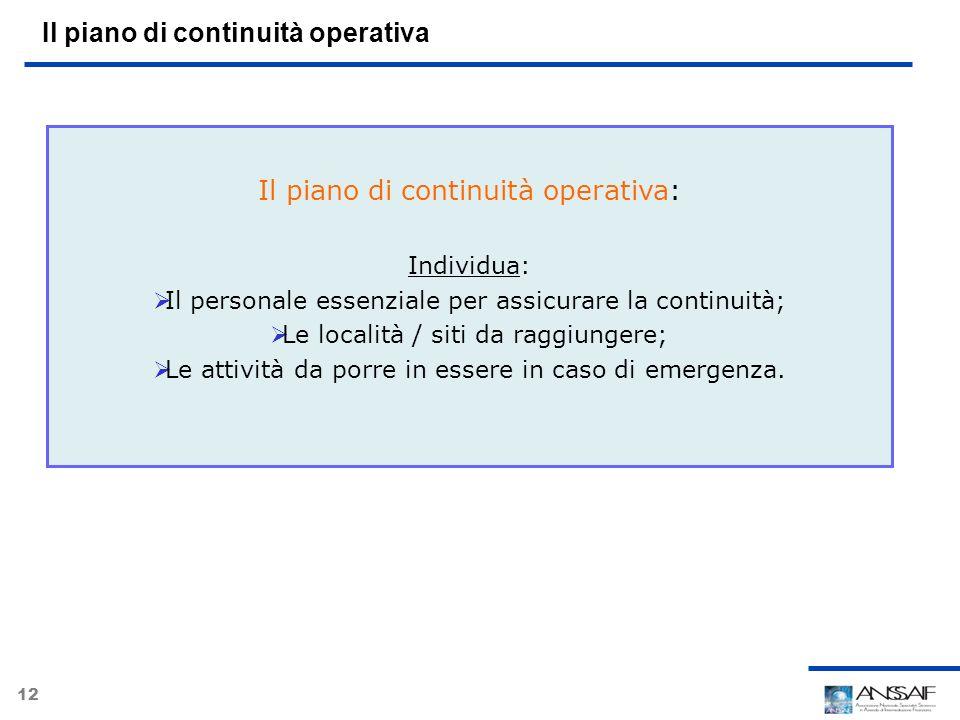 12 Il piano di continuità operativa Il piano di continuità operativa: Individua: Il personale essenziale per assicurare la continuità; Le località / s