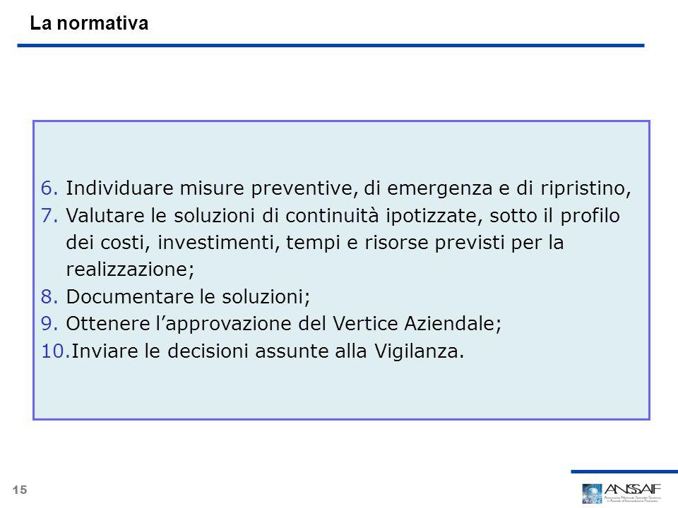 15 La normativa 6.Individuare misure preventive, di emergenza e di ripristino, 7.Valutare le soluzioni di continuità ipotizzate, sotto il profilo dei