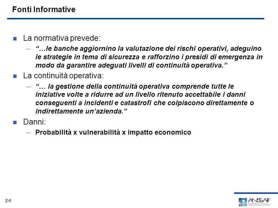 24 Fonti Informative La normativa prevede: –…le banche aggiornino la valutazione dei rischi operativi, adeguino le strategie in tema di sicurezza e ra