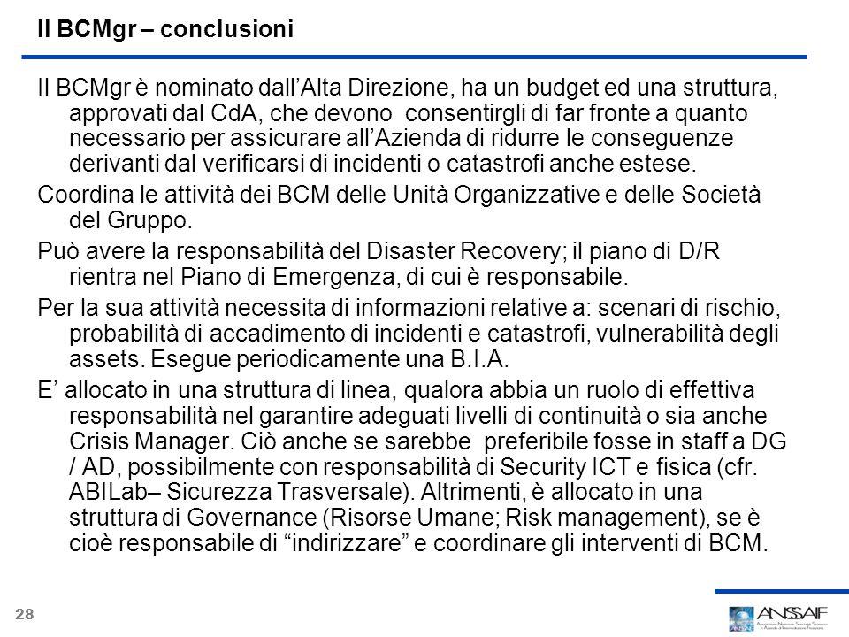 28 Il BCMgr – conclusioni Il BCMgr è nominato dallAlta Direzione, ha un budget ed una struttura, approvati dal CdA, che devono consentirgli di far fro