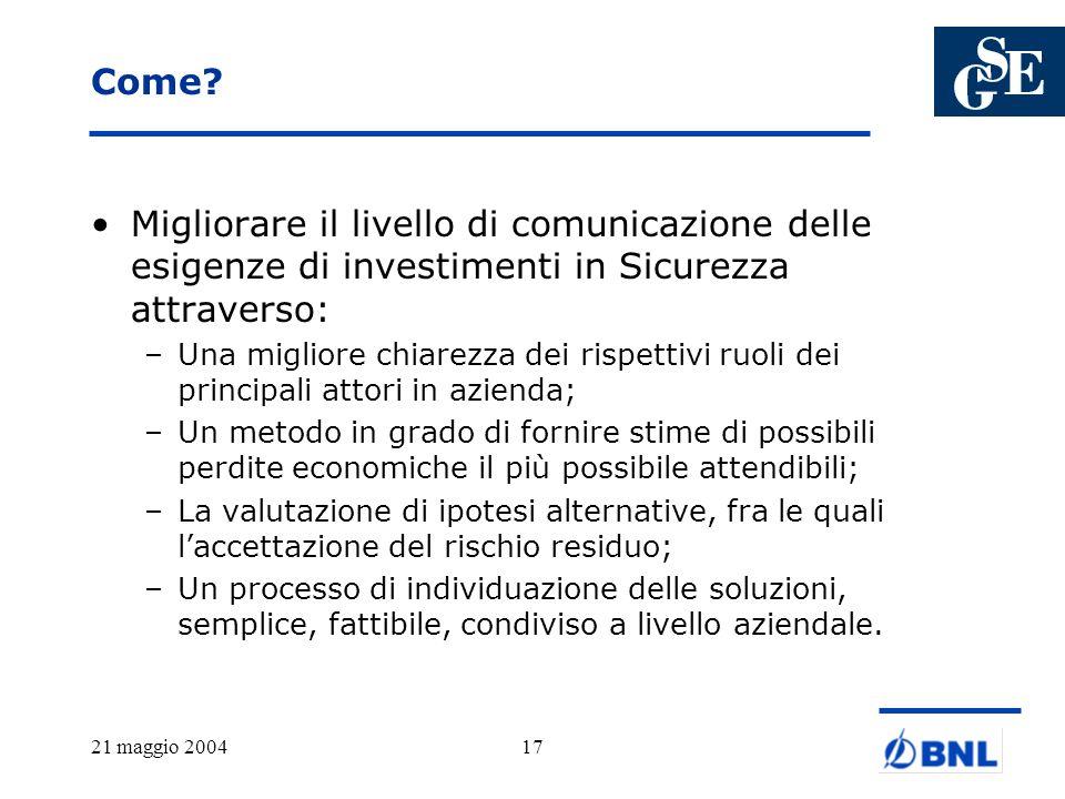 21 maggio 200417 Come? Migliorare il livello di comunicazione delle esigenze di investimenti in Sicurezza attraverso: –Una migliore chiarezza dei risp
