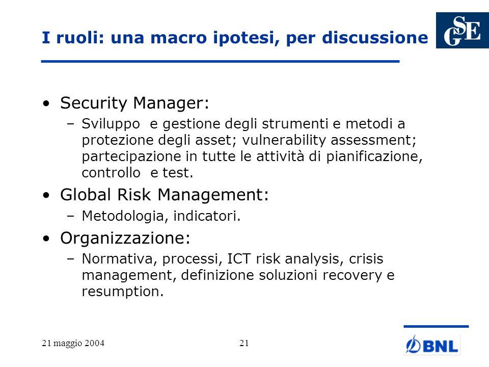 21 maggio 200421 I ruoli: una macro ipotesi, per discussione Security Manager: –Sviluppo e gestione degli strumenti e metodi a protezione degli asset;