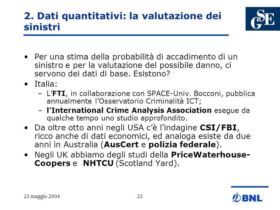 21 maggio 200423 2. Dati quantitativi: la valutazione dei sinistri Per una stima della probabilità di accadimento di un sinistro e per la valutazione