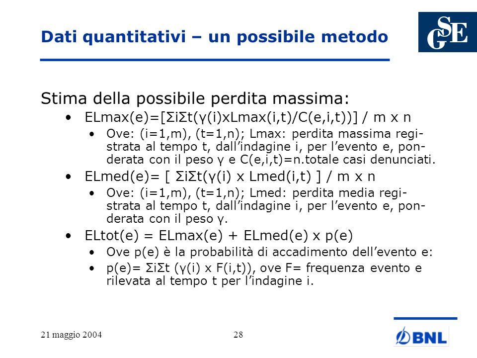 21 maggio 200428 Dati quantitativi – un possibile metodo Stima della possibile perdita massima: ELmax(e)=[ΣiΣt(γ(i)xLmax(i,t)/C(e,i,t))] / m x n Ove: