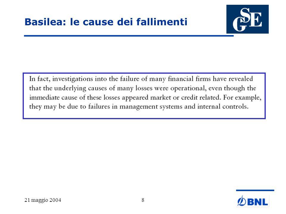 21 maggio 200429 Dati quantitativi – un possibile metodo Quello riportato rappresenta una possibile moda- lità di stima della possibile perdita economica per tipologia di evento e lho riportata per provocare il dibattito.