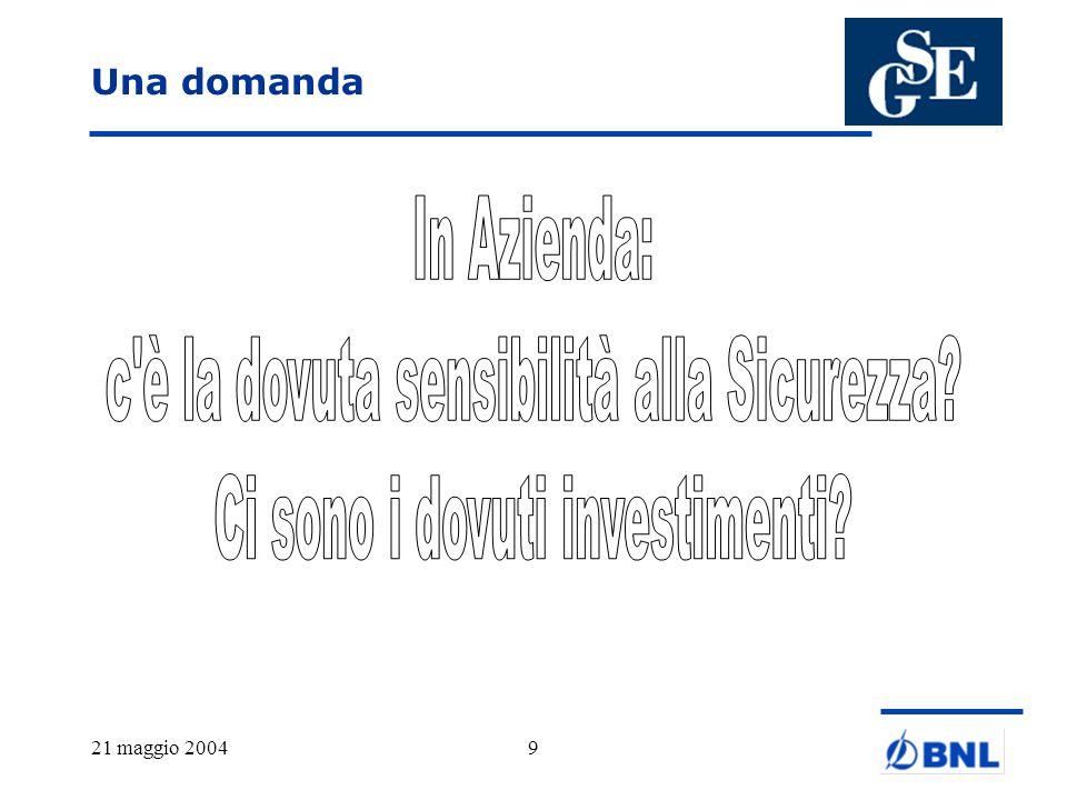 21 maggio 200420 Banca dItalia: Sistema dei controlli interni I controlli di linea, diretti ad assicurare il cor- retto svolgimento delle operazioni.