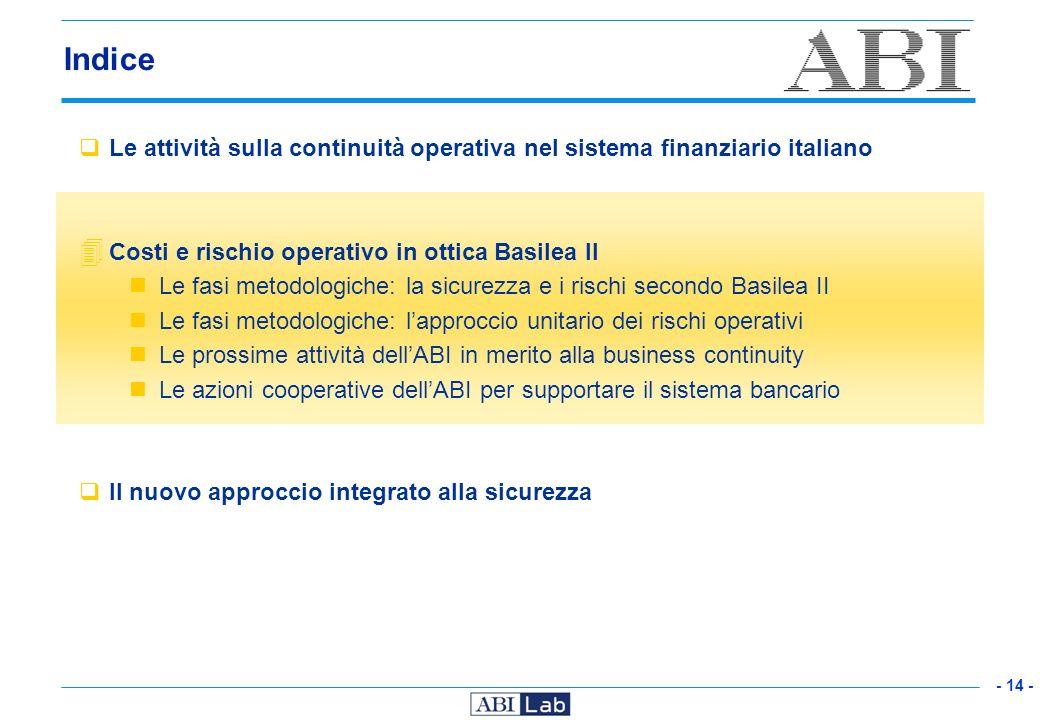 - 14 - Indice Le attività sulla continuità operativa nel sistema finanziario italiano 4 Costi e rischio operativo in ottica Basilea II Le fasi metodol