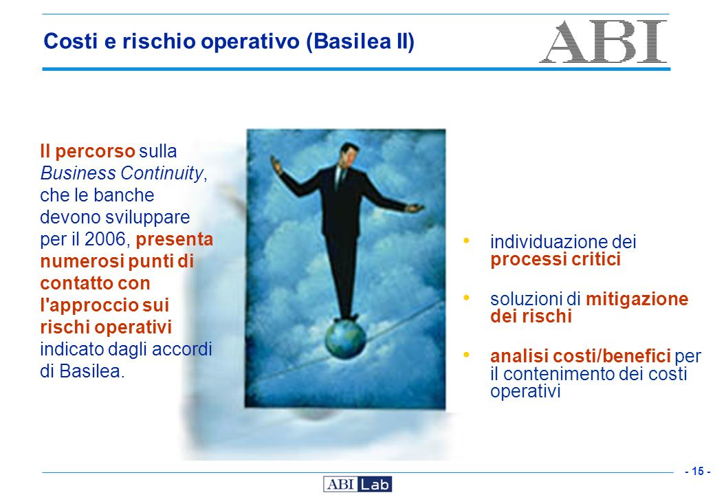 - 15 - Costi e rischio operativo (Basilea II) Il percorso sulla Business Continuity, che le banche devono sviluppare per il 2006, presenta numerosi pu