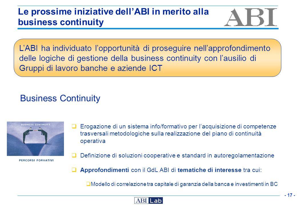 - 17 - Le prossime iniziative dellABI in merito alla business continuity Business Continuity Erogazione di un sistema info/formativo per lacquisizione
