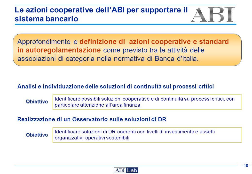 - 18 - Le azioni cooperative dellABI per supportare il sistema bancario Analisi e individuazione delle soluzioni di continuità sui processi critici Id