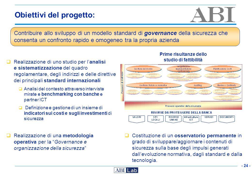 - 24 - Obiettivi del progetto: Realizzazione di uno studio per lanalisi e sistematizzazione del quadro regolamentare, degli indirizzi e delle direttiv