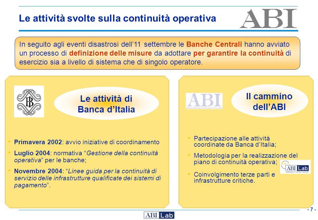 - 7 - Le attività svolte sulla continuità operativa Partecipazione alle attività coordinate da Banca dItalia; Metodologia per la realizzazione del pia