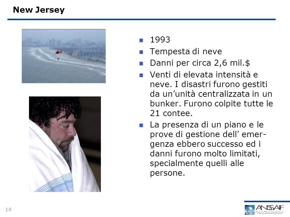 14 New Jersey 1993 Tempesta di neve Danni per circa 2,6 mil.$ Venti di elevata intensità e neve.
