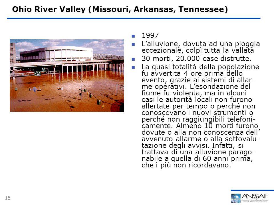 15 Ohio River Valley (Missouri, Arkansas, Tennessee) 1997 Lalluvione, dovuta ad una pioggia eccezionale, colpì tutta la vallata 30 morti, 20.000 case distrutte.