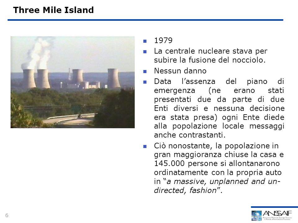 6 Three Mile Island 1979 La centrale nucleare stava per subire la fusione del nocciolo.