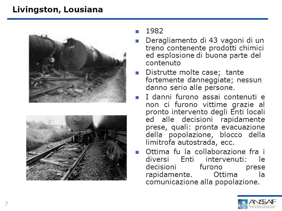 7 Livingston, Lousiana 1982 Deragliamento di 43 vagoni di un treno contenente prodotti chimici ed esplosione di buona parte del contenuto Distrutte molte case; tante fortemente danneggiate; nessun danno serio alle persone.