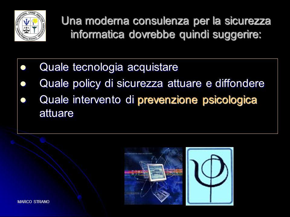 MARCO STRANOICAA 2005 Una moderna consulenza per la sicurezza informatica dovrebbe quindi suggerire: Quale tecnologia acquistare Quale tecnologia acqu