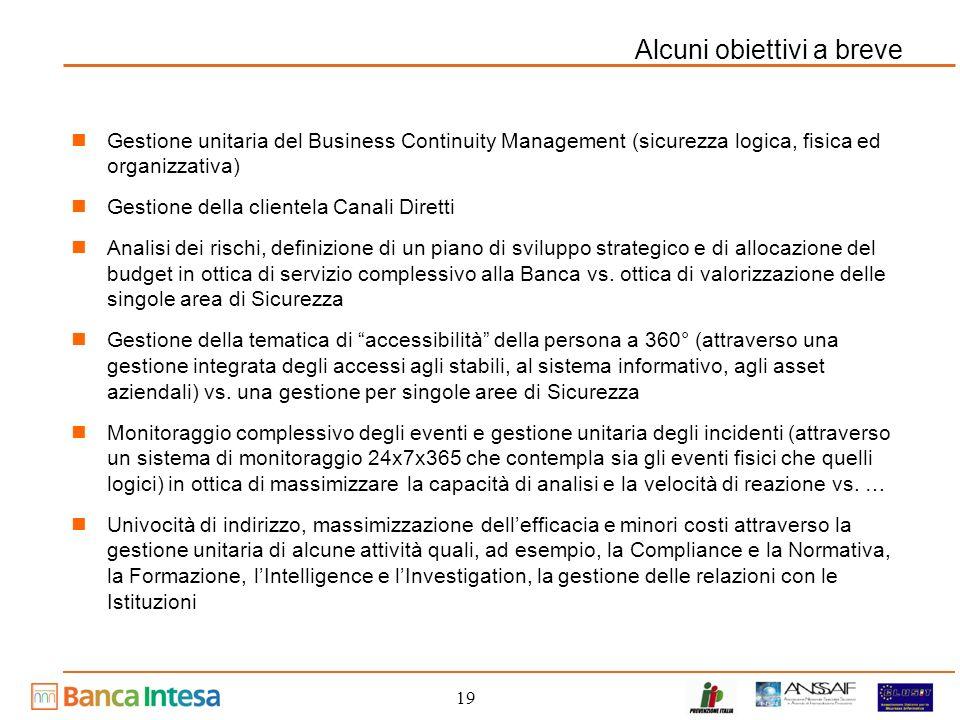 19 Alcuni obiettivi a breve Gestione unitaria del Business Continuity Management (sicurezza logica, fisica ed organizzativa) Gestione della clientela