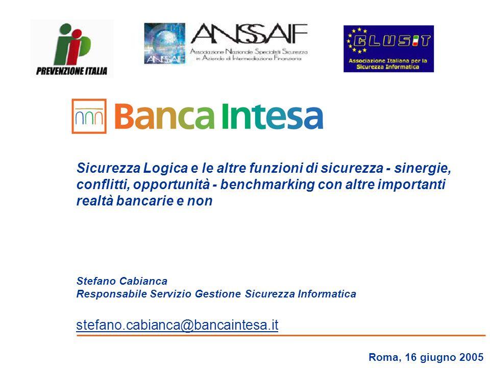 Sicurezza Logica e le altre funzioni di sicurezza - sinergie, conflitti, opportunità - benchmarking con altre importanti realtà bancarie e non Stefano