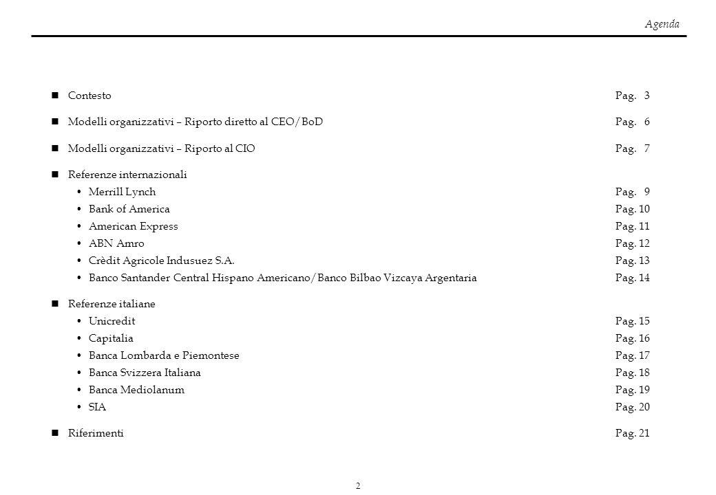 2 ContestoPag. 3 Modelli organizzativi – Riporto diretto al CEO/BoDPag. 6 Modelli organizzativi – Riporto al CIOPag. 7 Referenze internazionali Merril
