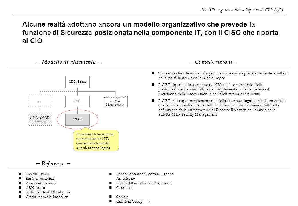 7 Alcune realtà adottano ancora un modello organizzativo che prevede la funzione di Sicurezza posizionata nella componente IT, con il CISO che riporta
