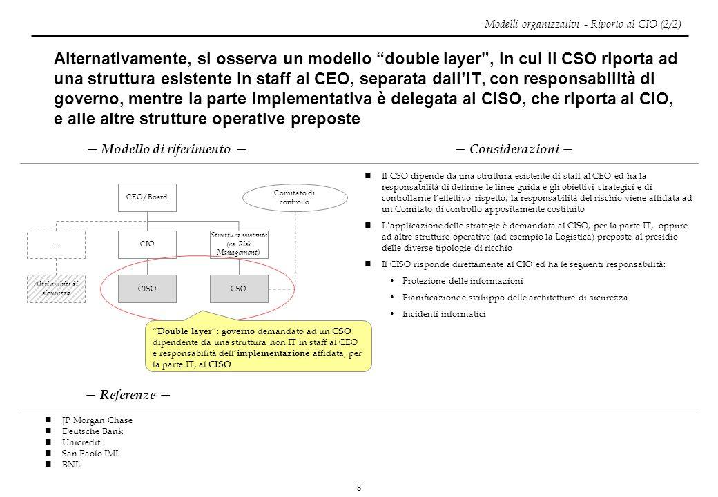 8 Alternativamente, si osserva un modello double layer, in cui il CSO riporta ad una struttura esistente in staff al CEO, separata dallIT, con respons