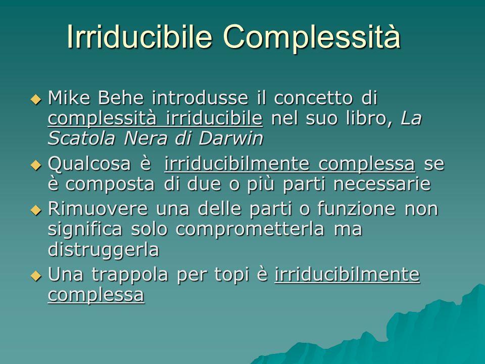 Irriducibile Complessità Mike Behe introdusse il concetto di complessità irriducibile nel suo libro, La Scatola Nera di Darwin Mike Behe introdusse il