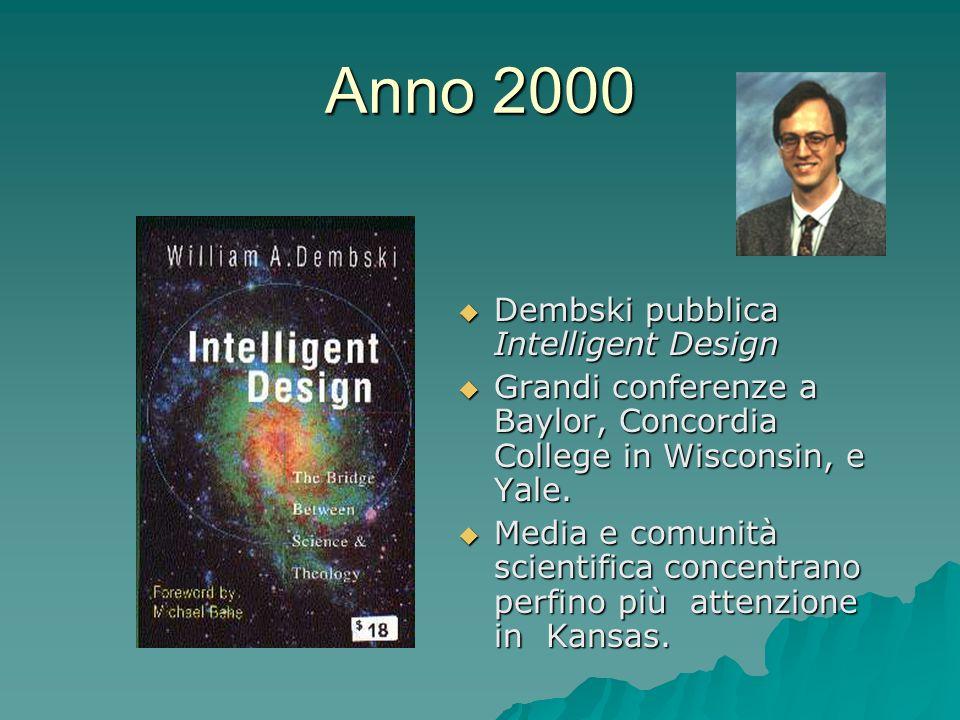 Anno 2000 Dembski pubblica Intelligent Design Dembski pubblica Intelligent Design Grandi conferenze a Baylor, Concordia College in Wisconsin, e Yale.