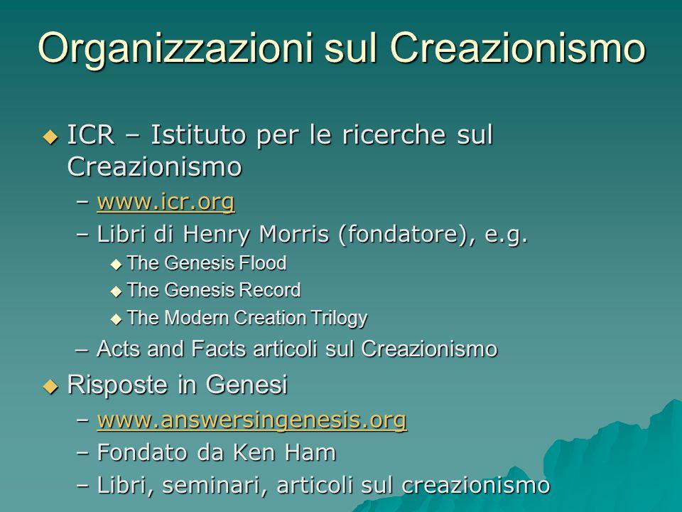 Organizzazioni sul Creazionismo ICR – Istituto per le ricerche sul Creazionismo ICR – Istituto per le ricerche sul Creazionismo –www.icr.org www.icr.o