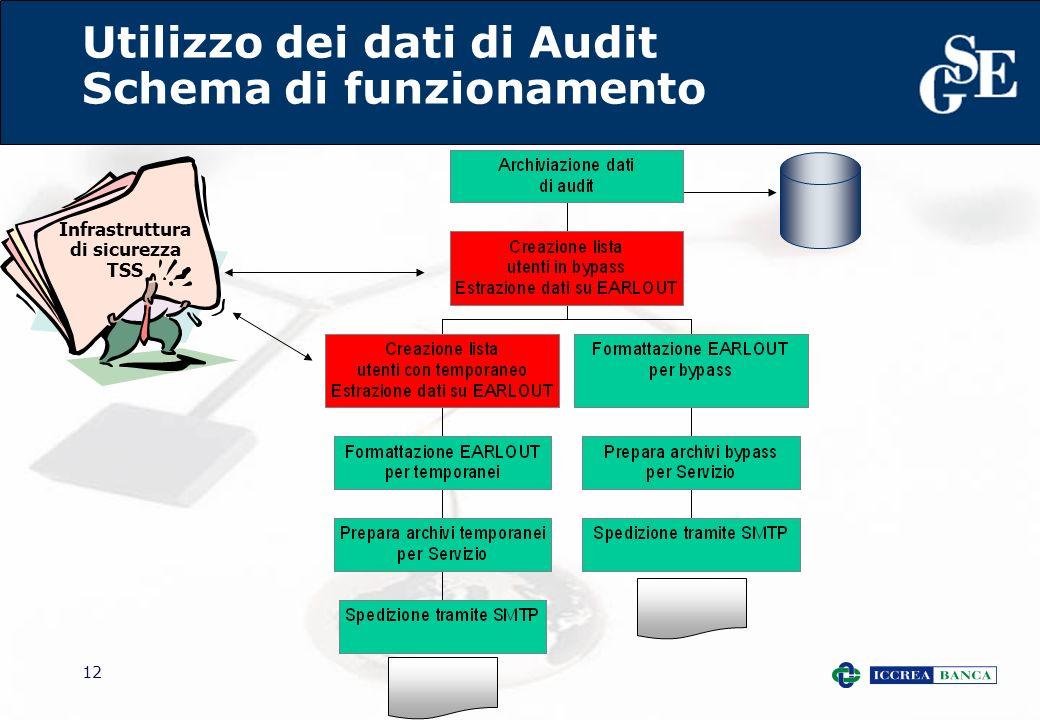 12 Utilizzo dei dati di Audit Schema di funzionamento Infrastruttura di sicurezza TSS