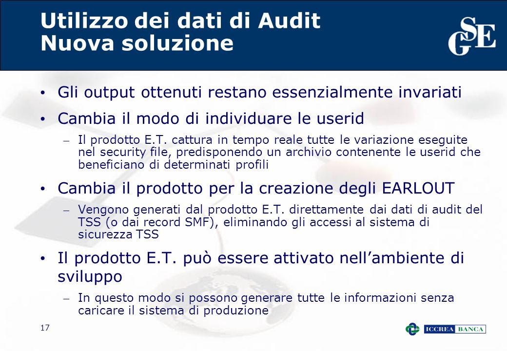 17 Utilizzo dei dati di Audit Nuova soluzione Gli output ottenuti restano essenzialmente invariati Cambia il modo di individuare le userid – Il prodot