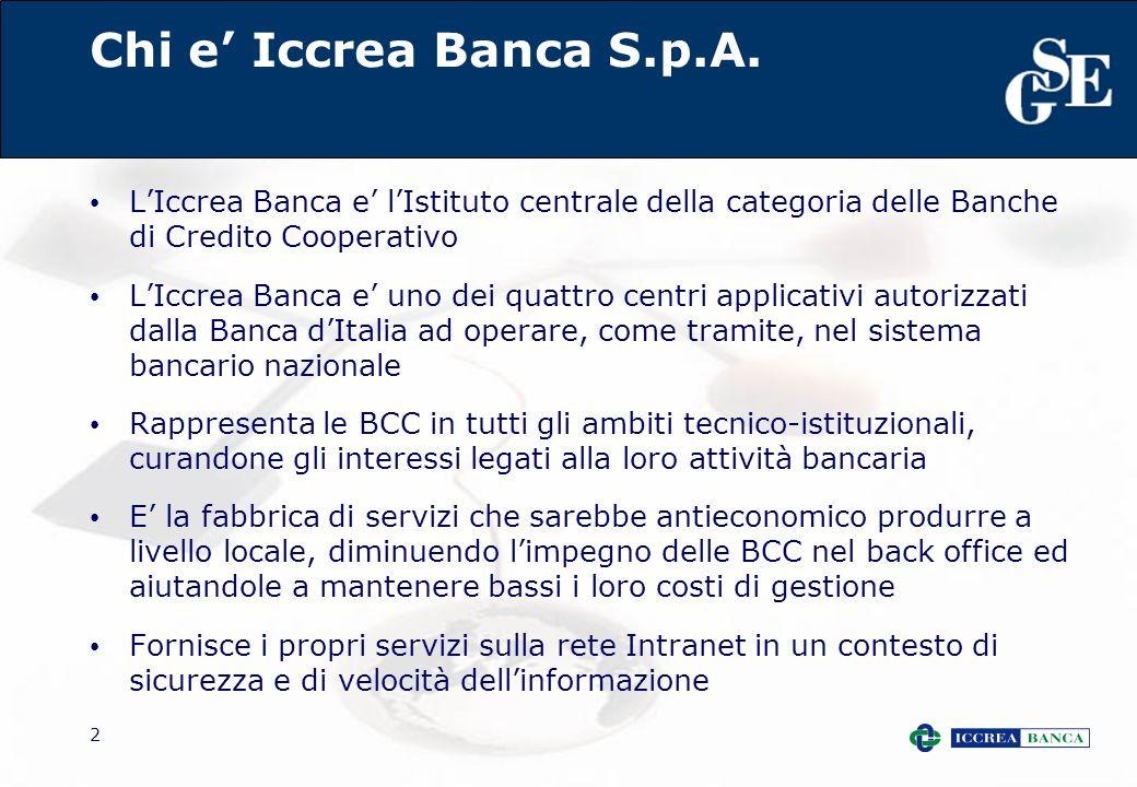 2 Chi e Iccrea Banca S.p.A. LIccrea Banca e lIstituto centrale della categoria delle Banche di Credito Cooperativo LIccrea Banca e uno dei quattro cen