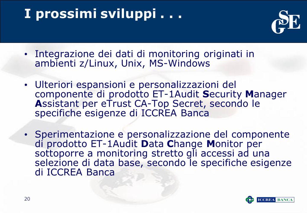 20 I prossimi sviluppi... Integrazione dei dati di monitoring originati in ambienti z/Linux, Unix, MS-Windows Ulteriori espansioni e personalizzazioni