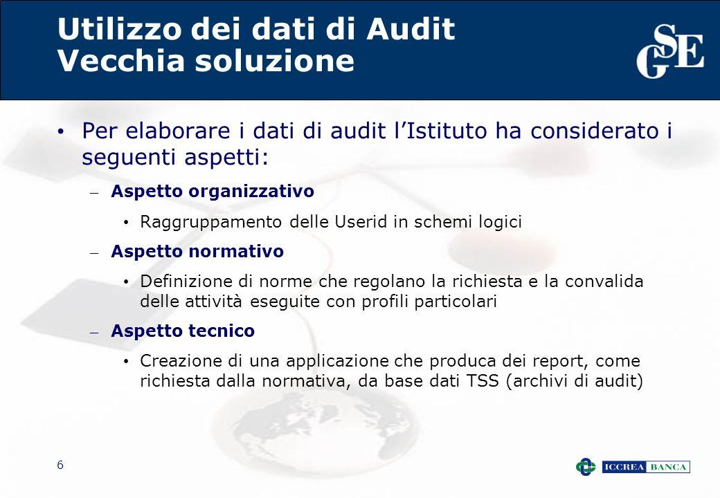 6 Utilizzo dei dati di Audit Vecchia soluzione Per elaborare i dati di audit lIstituto ha considerato i seguenti aspetti: – Aspetto organizzativo Ragg