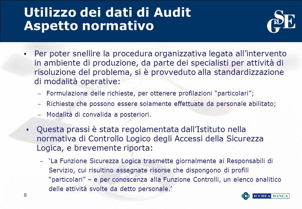 8 Utilizzo dei dati di Audit Aspetto normativo Per poter snellire la procedura organizzativa legata allintervento in ambiente di produzione, da parte