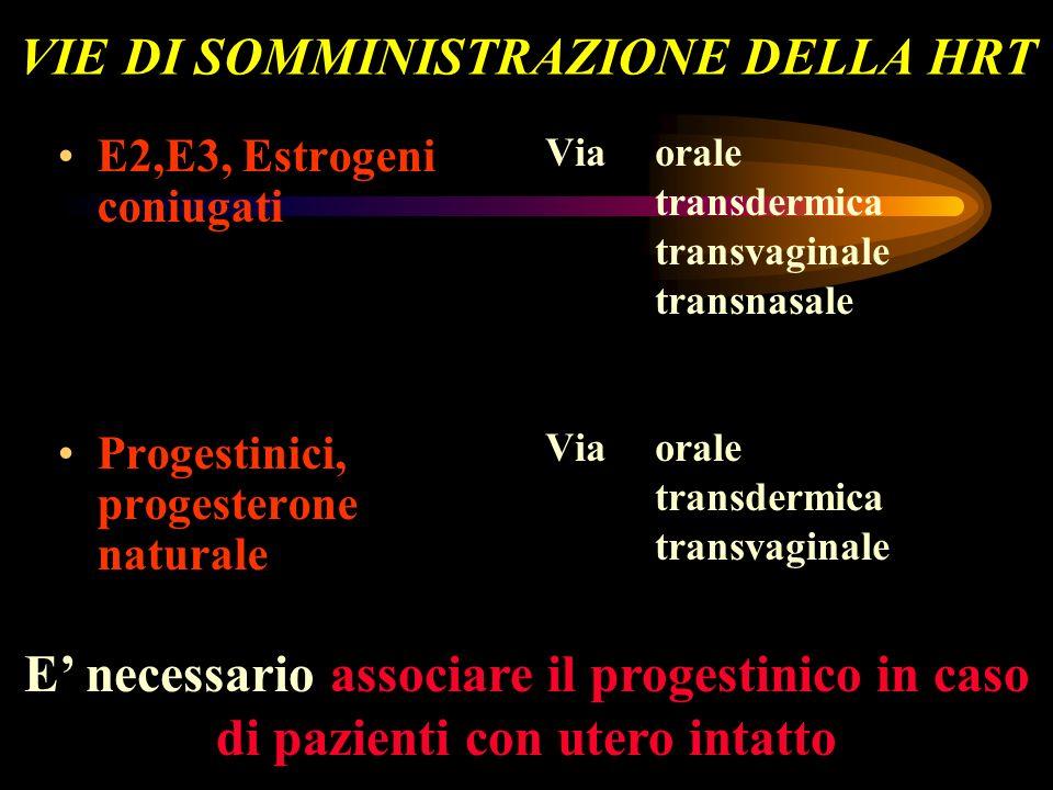 VIE DI SOMMINISTRAZIONE DELLA HRT E2,E3, Estrogeni coniugati Progestinici, progesterone naturale Via orale transdermica transvaginale transnasale Via