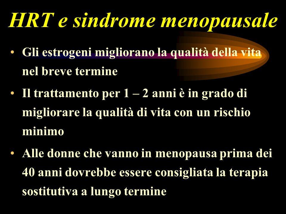 HRT e sindrome menopausale Gli estrogeni migliorano la qualità della vita nel breve termine Il trattamento per 1 – 2 anni è in grado di migliorare la