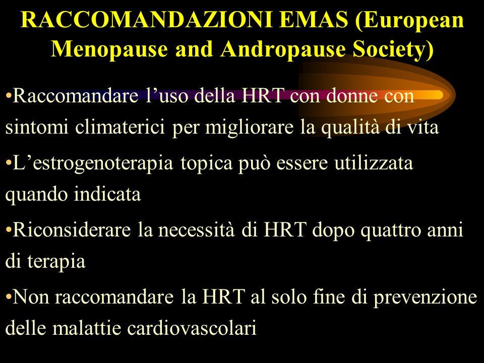 RACCOMANDAZIONI EMAS (European Menopause and Andropause Society) Raccomandare luso della HRT con donne con sintomi climaterici per migliorare la quali